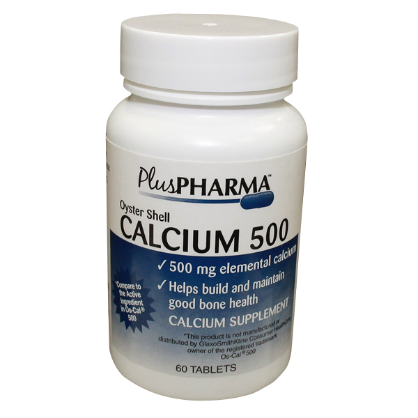 Calcium Oyster 500mg Tablet 60 Count Plus Pharma