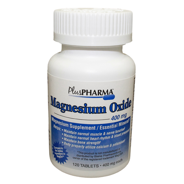 Magnesium Oxide 400mg Tablet 120 Count By Plus Pharma Gen Magnesium Ox
