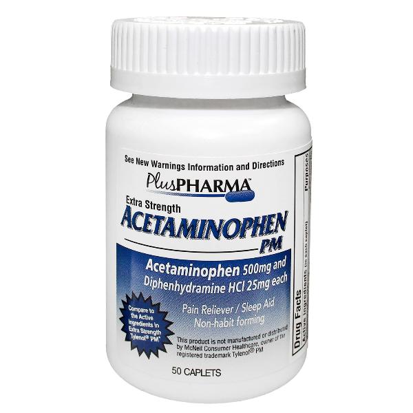 Acetamnphen PM 500Mg-25mg Tab 50 Generic Tylenol PM By Plus Pharma(Gemini) Free