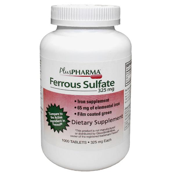 Ferrous Sulfate 325mg Tab 1000 Plus Pharma Round Green