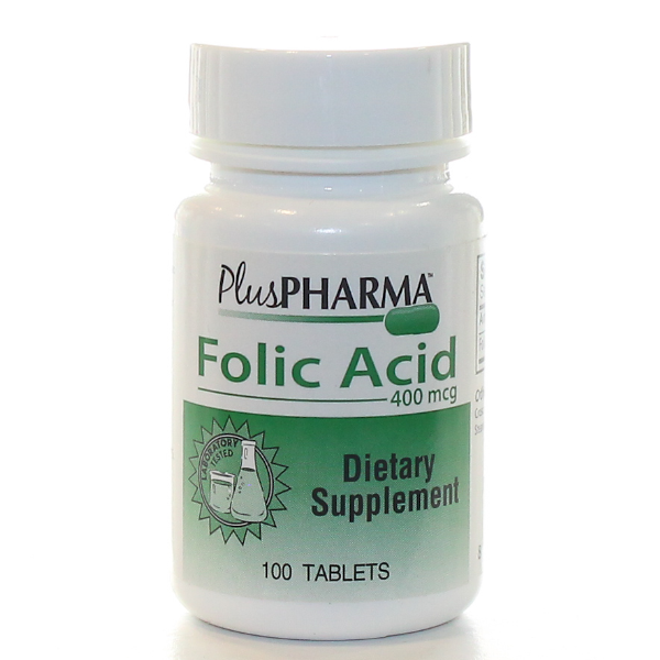 Folic Acid 400mcg Tab 100 Count Plus Pharma
