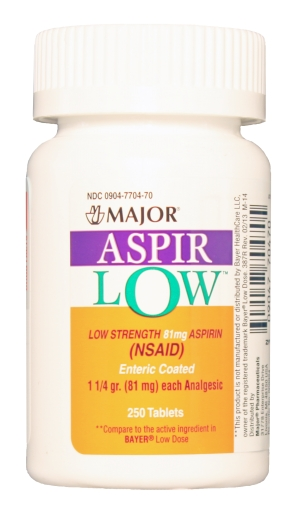 Aspir-Low 81mg mg Tab 250 By Major Pharma Generic Bayer. Item No.:516500 NDC No.: 00904770470 00904-7704-70 UPC No.: 309047704705 Item Description: Gnrc Pain Relief Other Name:Aspir-Low Therapeutic Co