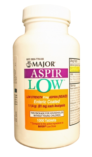 Aspir-Low 81 mg Tab 1000 By Major Pharma Generic Bayer Lo Dose