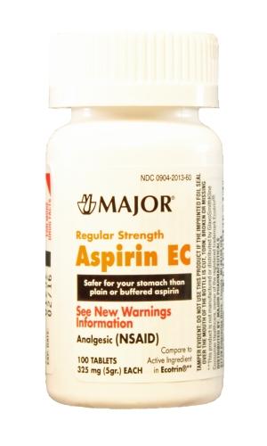 Aspirin Ec 325 Mg Tab 100 by Major Pharma Generic Ecotrin Aspirin Ec 325 Mg Tab 100 By Major Pharm Item No.:4721522 Ndc No.: 00904201360 00904-2013-60  Upc No.: 009042013603 Item Description: Gnrc Pai