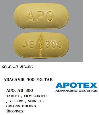 Abacavir 300mg Tab 60 by Apotex Corp Gen Ziagen Short dated