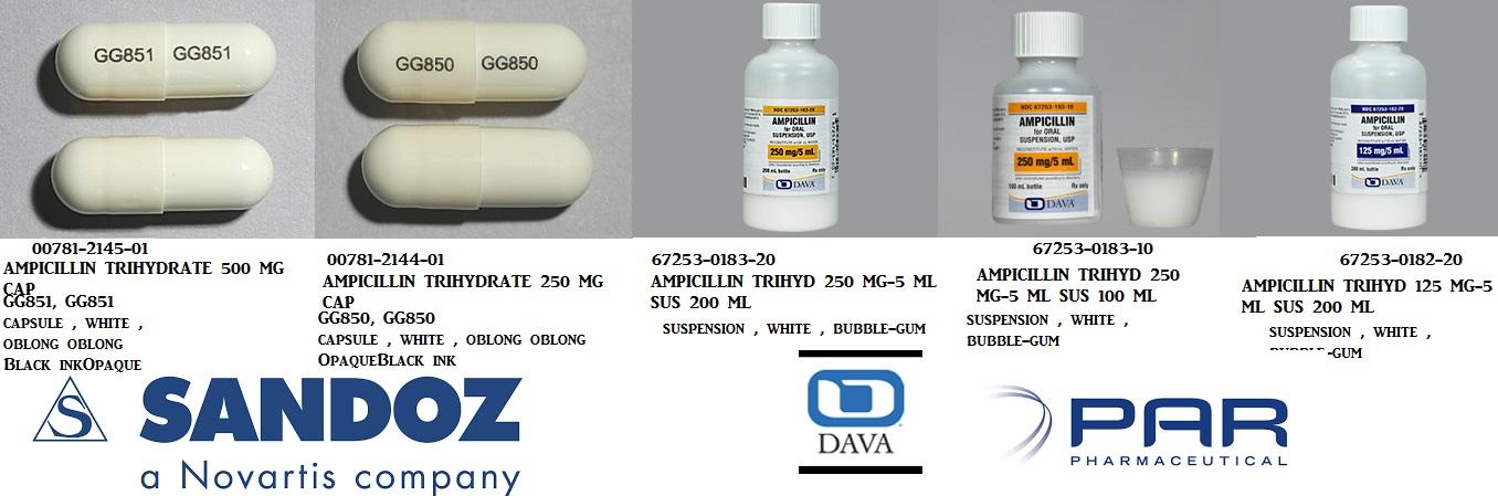RX ITEM-Ampicillin 500mg Cap 100 by Sandoz Pharma