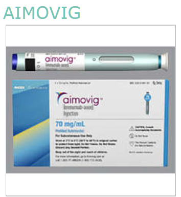 Item No.: Rx771279  Generic Name:<Br>Erenumab-Aooe Description:Aimovig Sy 70Mg/ml 1ml Sclk A-Inj Alt Item #: 5453956 NDC: 55513-0841-01 55513084101 55513-841-01 5551384101 UPC: 355513-841016 355513841