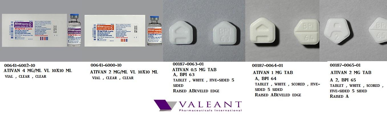 RX ITEM-Ativan 0.5mg Tab 100 by Valeant Pharma