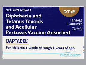 RX ITEM-Daptacel Dtap 15 10 5 .5 Vial 10X0.5Ml By Sanofi Pasteur Refrigerated
