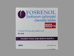 Rx Item-Fosrenol Chewable 1000mg Chewable 9X10 By Shire Pharma
