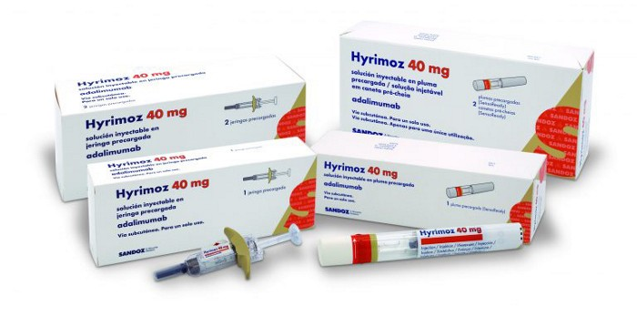 Rx Item-HYRIMOZ (adalimumab-adaz)  40 mg/0.8  mL  single-dose pre -filled 2 syri
