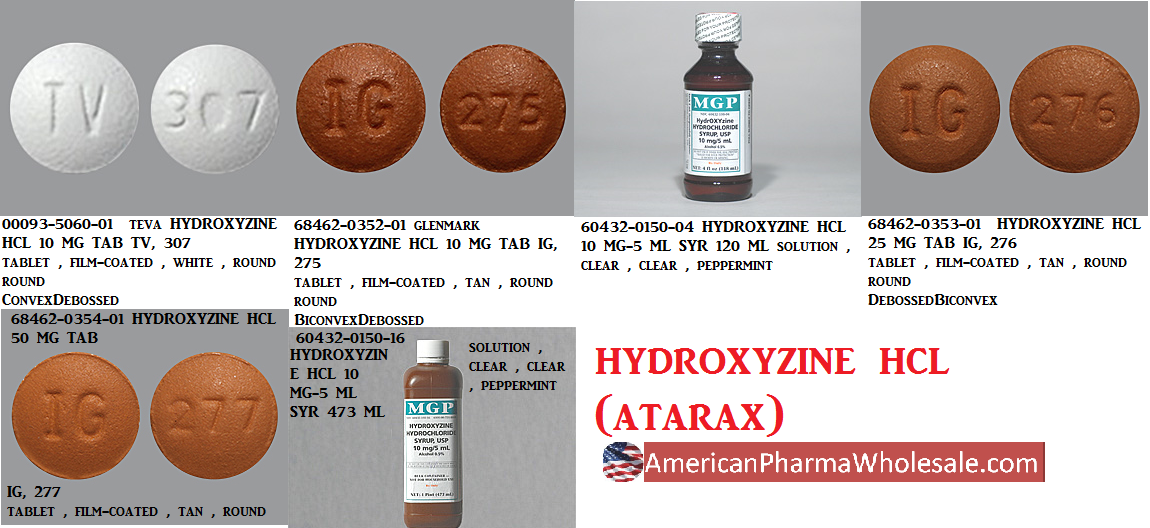 Rx Item-Hydroxyzine Hcl 25mg Tab 100 By American Health Packaging