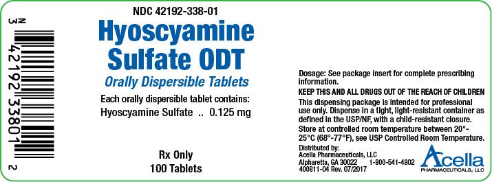 Rx Item-Hyoscyamine .125MG ODT 100 Tab by Acella Pharma USA Gen Levsin