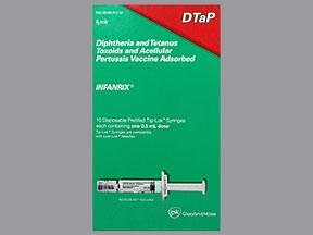 RX ITEM-Infanrix Dtap 25 58 10 Syringe 10X0.5Ml By Glaxosmithkline Vaccines Refr