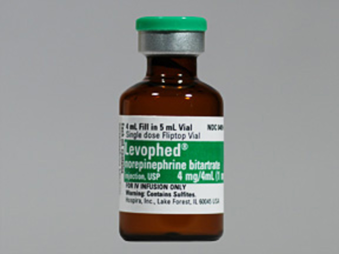 Rx Item-Levophed 1Mg/ml Vial 10X4ml By Hospira Worldwide Norepinephrine