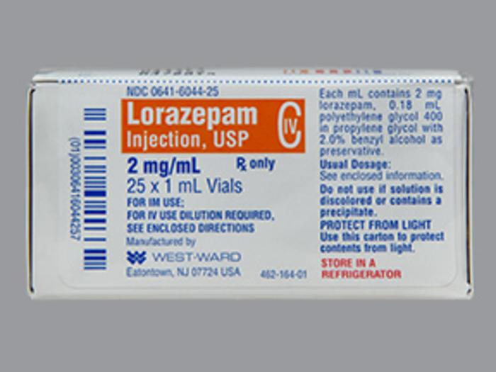 RX ITEM-Lorazepam 2Mg-Ml Vial 25X1Ml By Westward Pharma