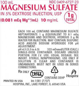 Magnesium Sulfate 1 G 100U/ml P B 24X100ml by Hospira Worldwide