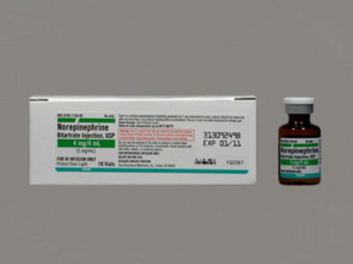 Rx Item-Norepinephrine Bitartrate 1Mg/ml Vial 10X4ml By Teva Pharma
