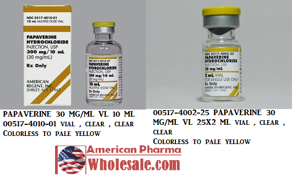 RX ITEM-Papaverine 30Mg/Ml Vial 25X2Ml By American Regent Lab
