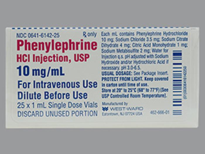 RX ITEM-Phenylephrine 10Mg/Ml Vial 25X1Ml By Westward Pharma