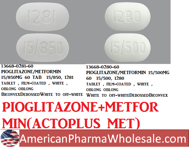 RX ITEM-Pioglitazone 15Mg/850Mg Tab 60 By Teva Pharma