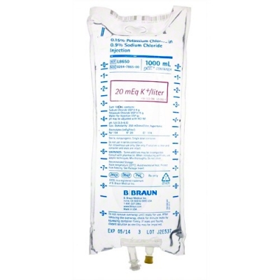 RX ITEM-Potassium Chloride-Nacl 20 L8650 Meq/L Solution 12X1000Ml By B.Braun