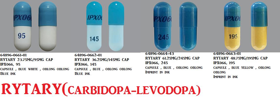 Rx Item-RYTARY carbidopa/levodopa ORAL CAPSULE ER 23.75MG/95MG  CAP 100 BY AMNEA