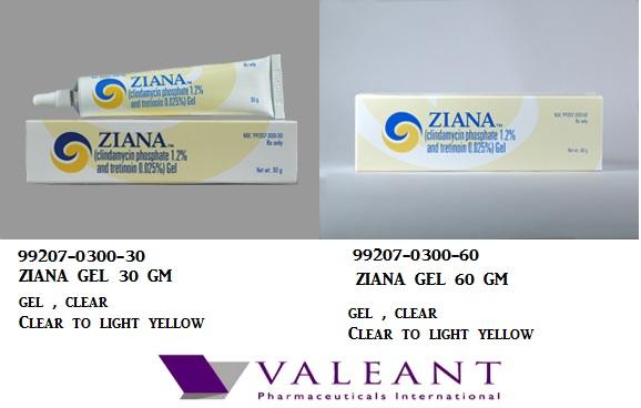 RX ITEM-Ziana 1.2 0.025% Gel 30Gm By Valeant Pharma