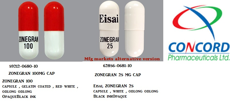 RX ITEM-Zonegran 100Mg Cap 100 By Concordia Pharma