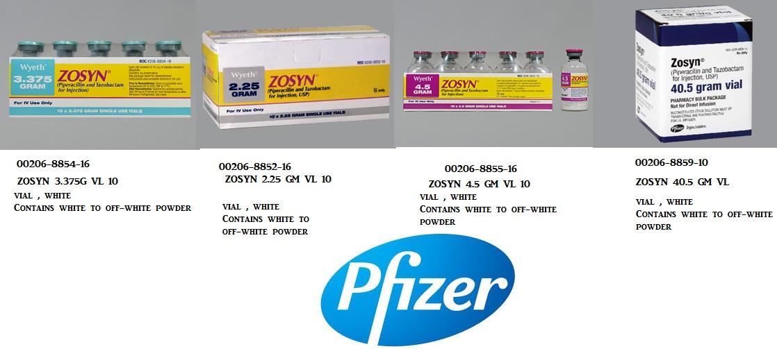 RX ITEM-Zosyn 2.25 G Vial 10 By Pfizer Pharma
