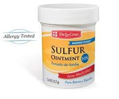 De La Cruz Sulfur Ointment 10% Acne Medication - 2.6 oz Jar