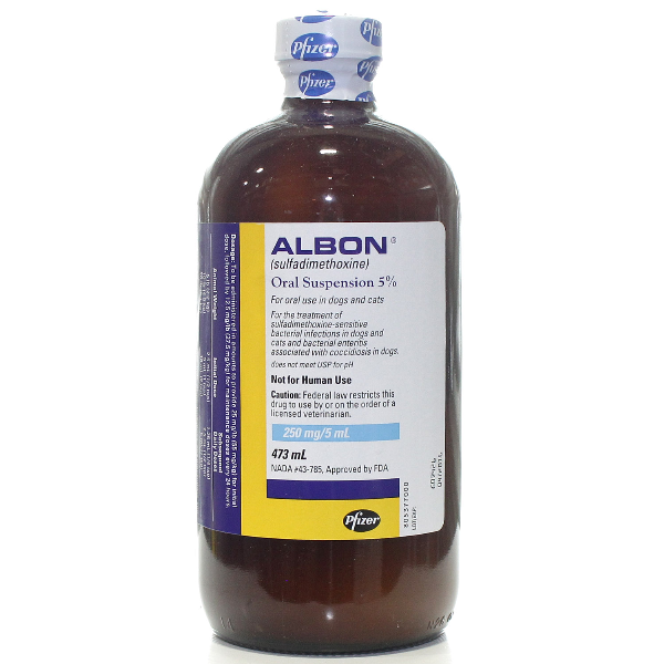 Albon Susp. 5% 473ml (16 oz .) 473ml Ssp By Zoetis Pet Rx(Vet)