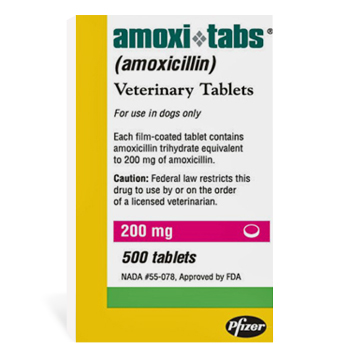 Amoxi-Tabs For Dogs 200mg 500# 500 Tab By Pfizer Pet Rx(Vet)