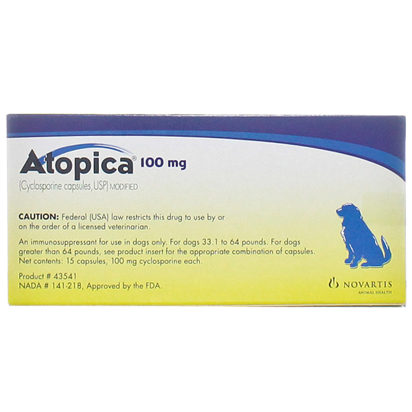 Atopica Capsules 100mg 15# 15 Cap By Novartis Pet Rx(Vet)