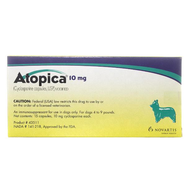 Atopica Capsules 10mg 15# 15 Cap By Novartis Pet Rx(Vet)