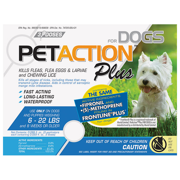 PET ACTION PLUS SMALL DOG Frontline Plus For Dogs 3 Sl By PETIQ Otc(Vet)