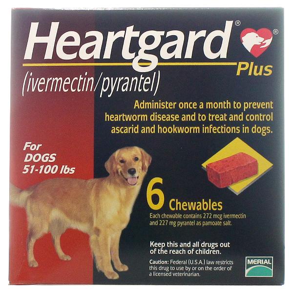 Heartgard Plus Chewable 51-100 6# 6 Tab By Merial Pet Rx(Vet)