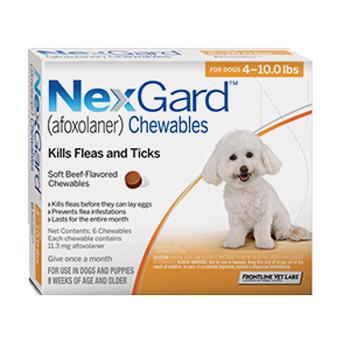 Nexgard Dog 4-10 Lbs 6 Tab By Merial Pet Rx(Vet)