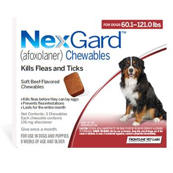 Nexgard Dog 60.1-121 Lbs 3 Tab By Merial Pet Rx(Vet)