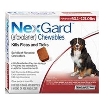 Nexgard Dog 60.1-121 Lbs 6 Tab By Merial Pet Rx(Vet)