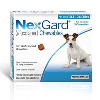 Nexgard Dog 10.1-24 Lbs 3 Tab By Merial Pet Rx(Vet)