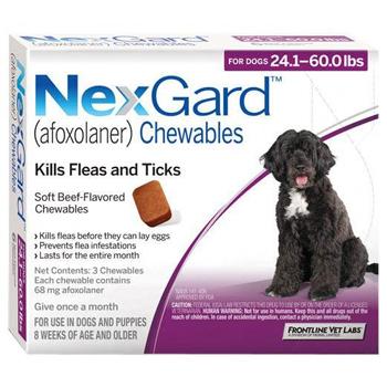 Nexgard Dog 24.1-60 Lbs 3 Tab By Merial Pet Rx(Vet)