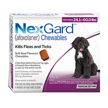Nexgard Dog 24.1-60 Lbs 6 Tab By Merial Pet Rx(Vet)