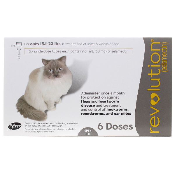 Revolution Cat 15.1-22 Lb 6# 6 Dose Sl By Pfizer Pet Rx(Vet)
