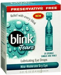 Blink Dry Eye Drops Preservative Free 25Ct UNIT DOSE PACKAGE BY J&J