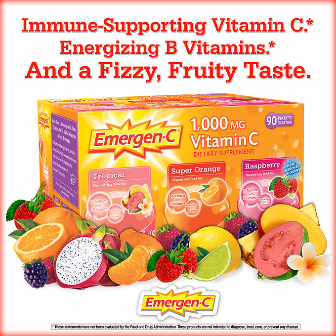 Emergen-C Vitamin C Drink Mix, 1000 mg, Orange, Raspberry, Tropical - 90 packets