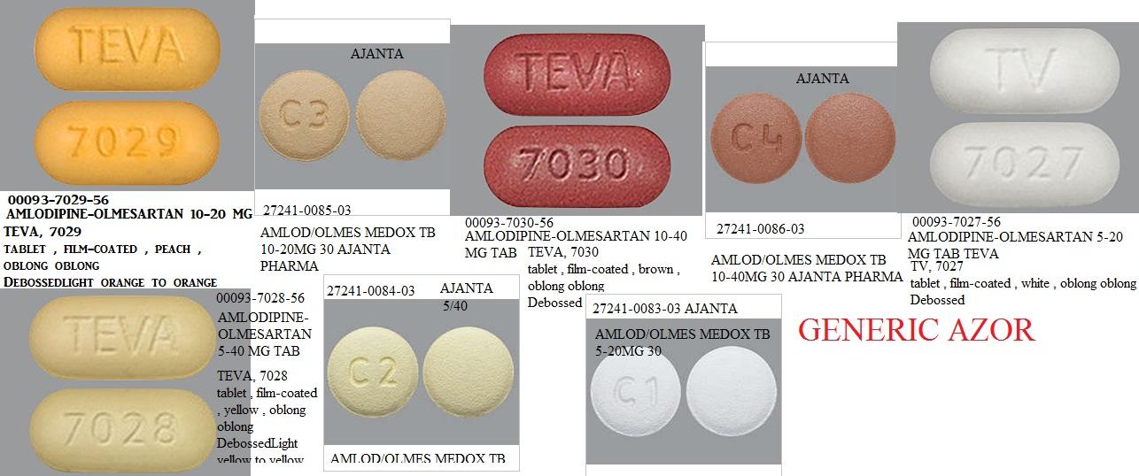 RX ITEM-Olmesartan-Amlodipine Generic Azor 10-20Mg Tab 30 By Ajanta Pharma
