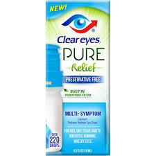 Clear Eyes Pure Relief Eye Drops, Lubricant, Multi-Symptom - 0.3 fl oz