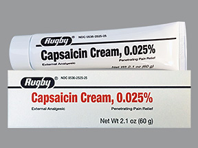 Free Shipping-Capsaicin 0.025% Cream 60gm By Rugby Generic Zostrix Case of 24