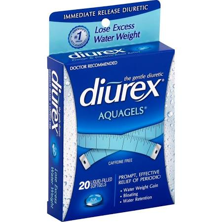 Diurex Diuretic, Immediate Release, Caffeine Free, Aquagels 20 Softge (12 Box)
